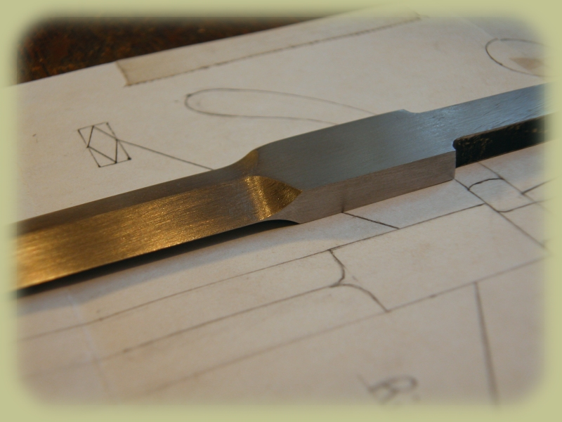 Detail of Drawing and Rough Filed Blade, Left Handed Dagger